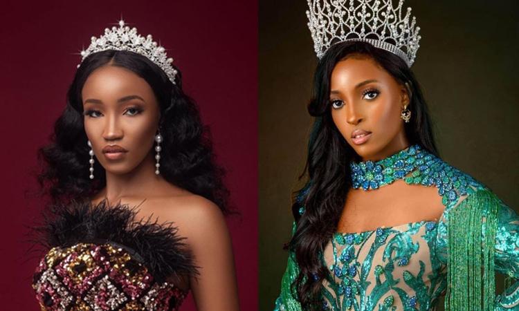 Hoa hậu Kenya Irene Mukii (trái) và Hoa hậu Nigeria Chikaodili  Nna-Udosen. Ảnh: MGI.