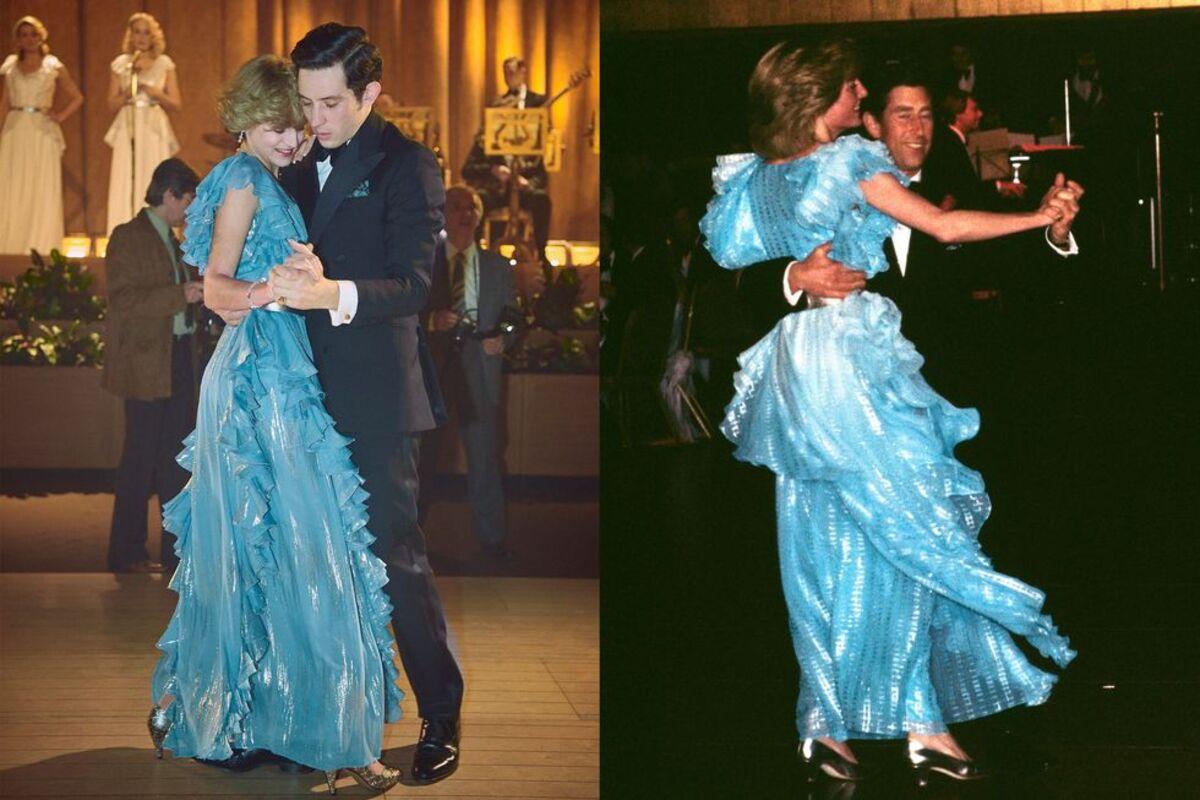 Emma Corrin - JOsh OConnor (trái) diễn cảnh Thái tử Charles nhảy cùng Công nương Diana tại khách sạn Wentworth, Australia. Ảnh: Elle.