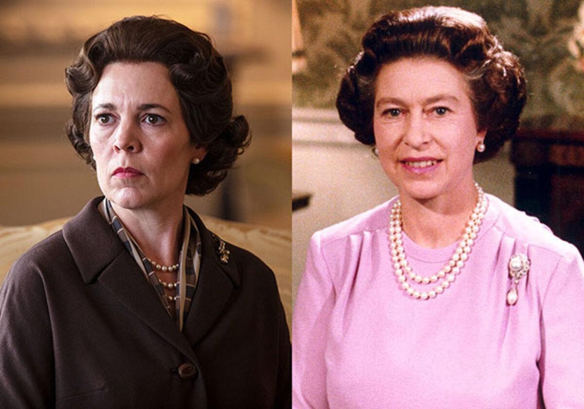 Trong The Crown, Olivia Colman (trái) đóng Nữ Hoàng Elizabeth II. Anh: Netflix.