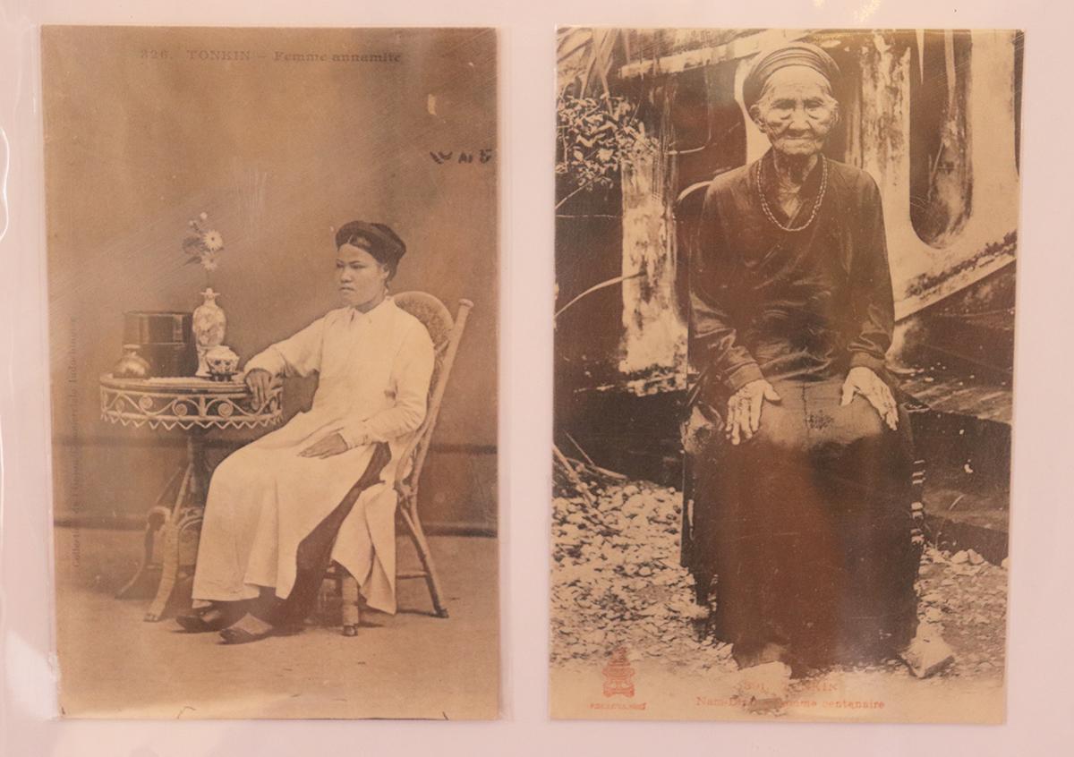 Hình ảnh người phụ nữ thành thị ở đồng bằng Bắc Bộ trong bộ bưu ảnh Người phụ nữ Việt qua từng loại trang phục, được sản xuất từ năm 1900-1960 của thế kỉ XX. Ảnh: Thanh Tuyền