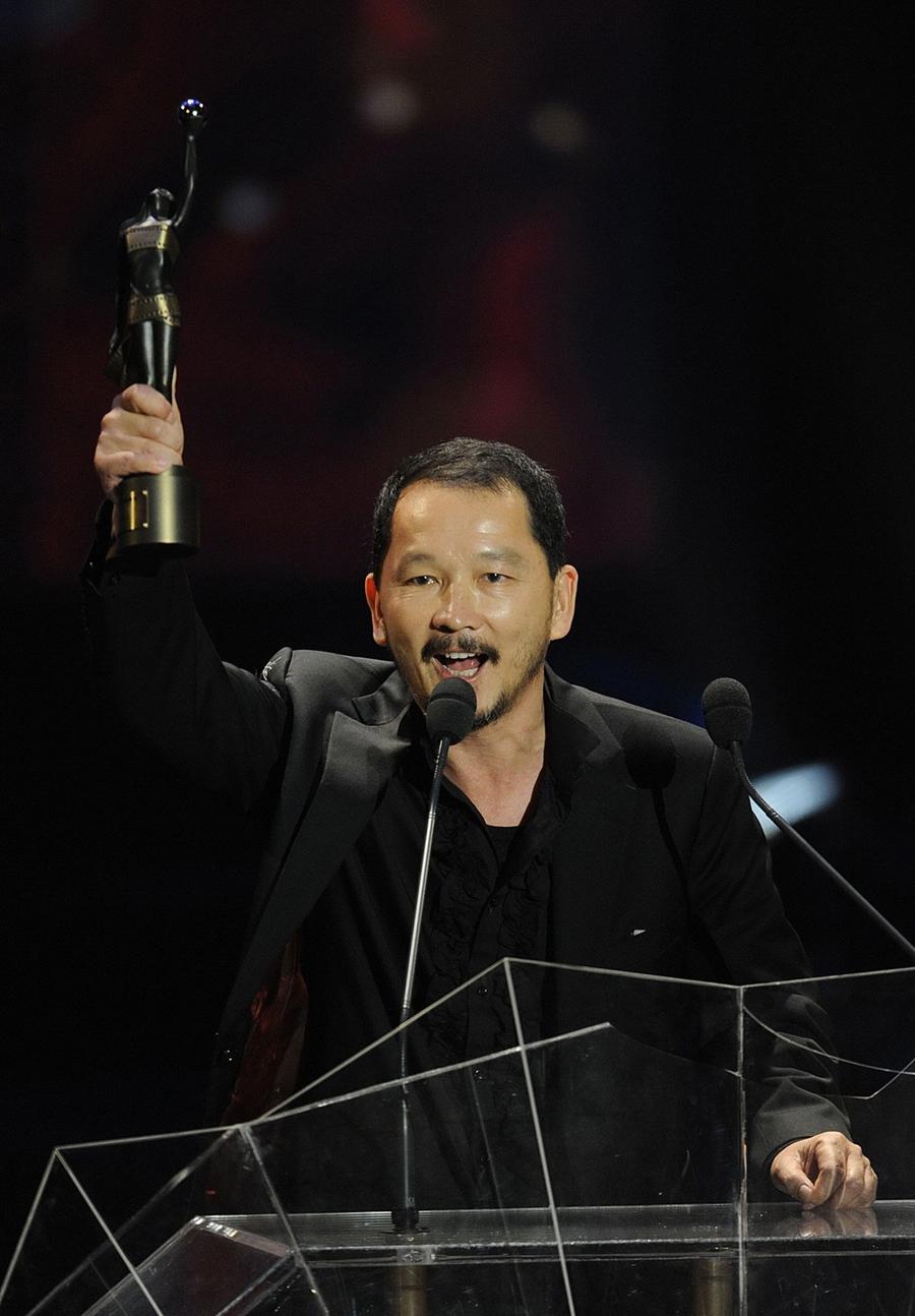 Liêu Khải Trí tại lễ trao giải Kim Tượng 2009. Ảnh: HK01.