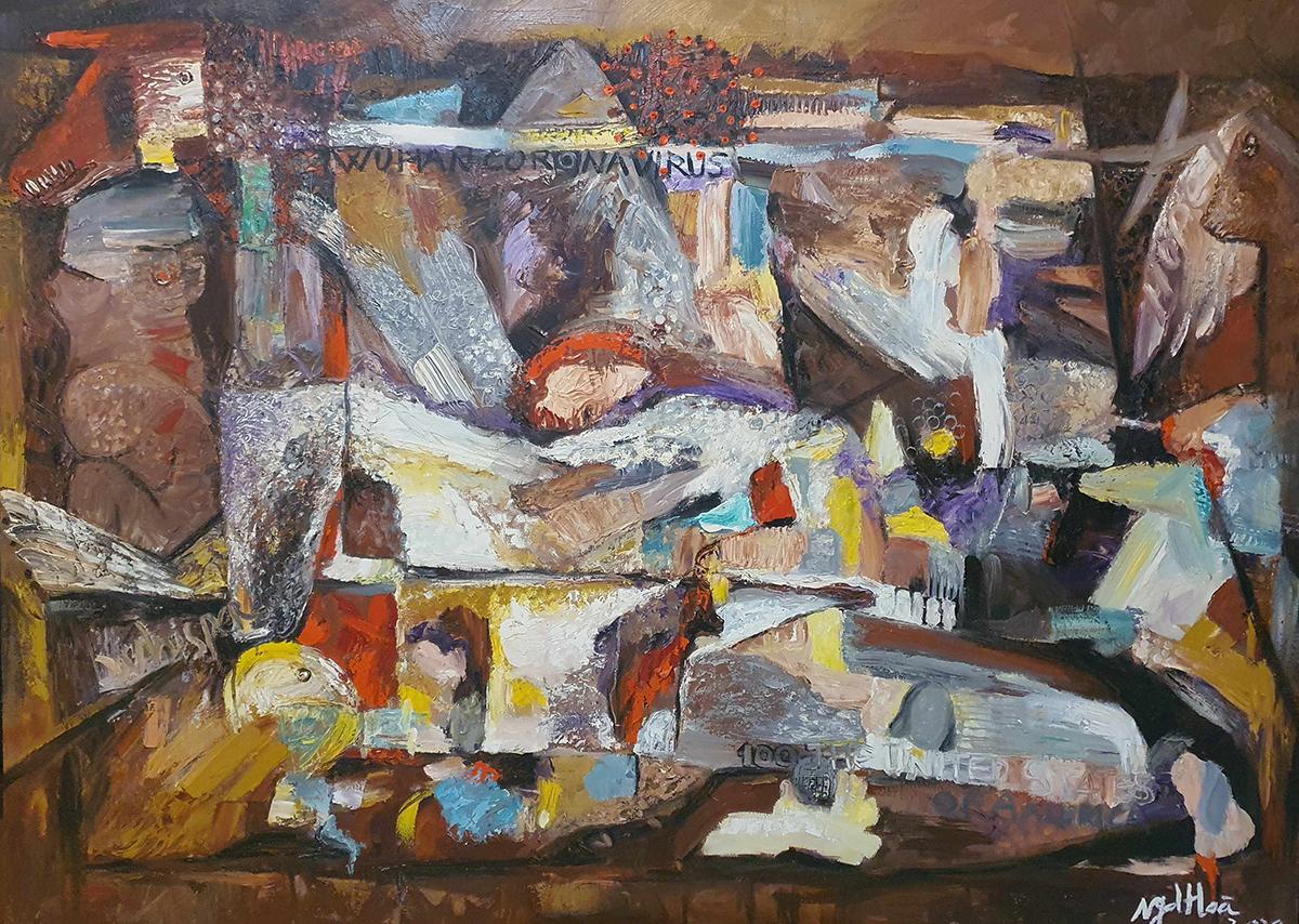 Tác phẩm Ác mộng Covid của họa sĩ Nguyễn Đức Hòa, chất liệu sơn dầu. Ảnh: Art Consulting Asia.