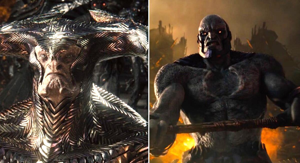Tạo hình hai ác nhân Steppenwolf (trái) và Darkseid trong bản phim của Zack Snyder. Ảnh: HBO.
