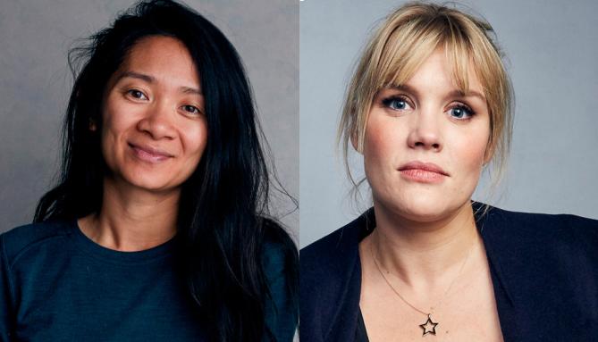 Chloé Zhao (trái) và Emerald Fennell. Ảnh: AP.