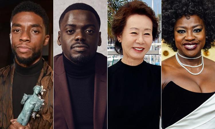 Bốn diễn viên thắng giải diễn xuất cá nhận tại SAG 2021: Chadwick Boseman, Daniel Kaluuya, Youn Yuh Jung và Viola Davis (lần lượt từ trái qua). Ảnh: SAG.