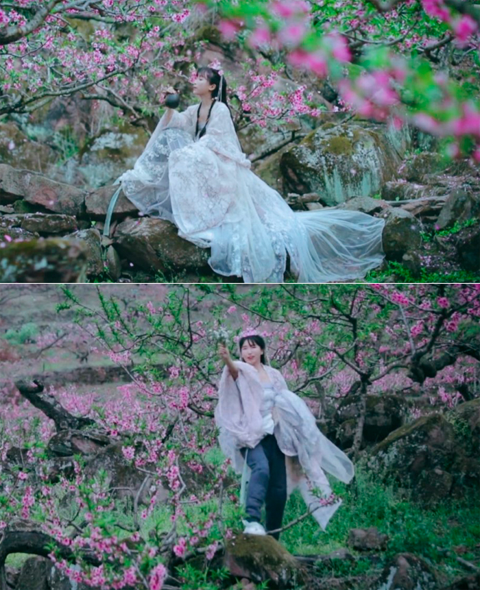 Tử Thất vén đồ để dễ di chuyển. Ảnh: Weibo/Liziqi.