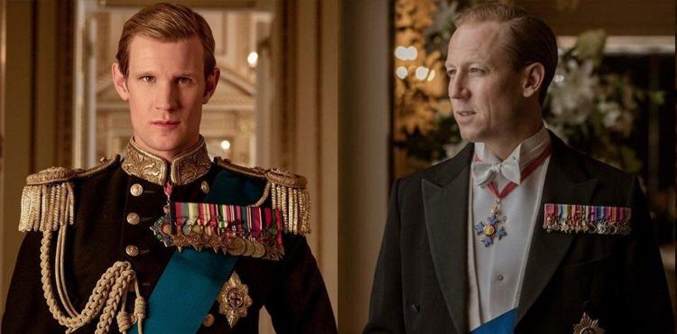 Matt Smith (trái) và Tobias Menzies trong vai Hoàng thân Philip ở các mùa series The Crown. Ảnh: Handout.