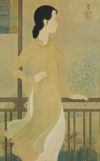 Người phụ nữ nhìn qua ban công - tác phẩm của Mai Trung Thứ vẽ năm 1940, từng được bán đấu giá với mức 600.000 HKD (hơn 1,7 tỷ đồng).