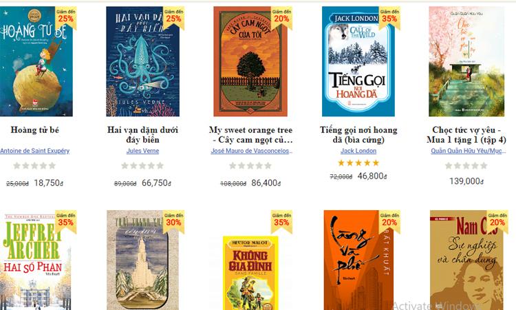 Một số cuốn sách được giới thiệu trên sàn book365.vn. Ảnh chụp màn hình.