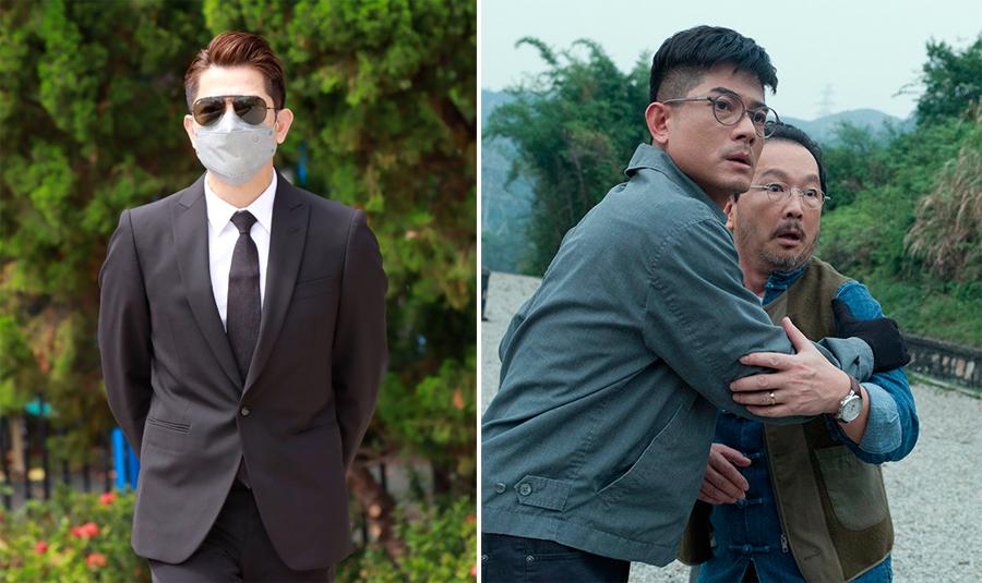 Quách Phú Thành tại tang lễ (trái) và trong phim Vô song, đóng cùng Liêu Khải Trí. Ảnh: HK01.