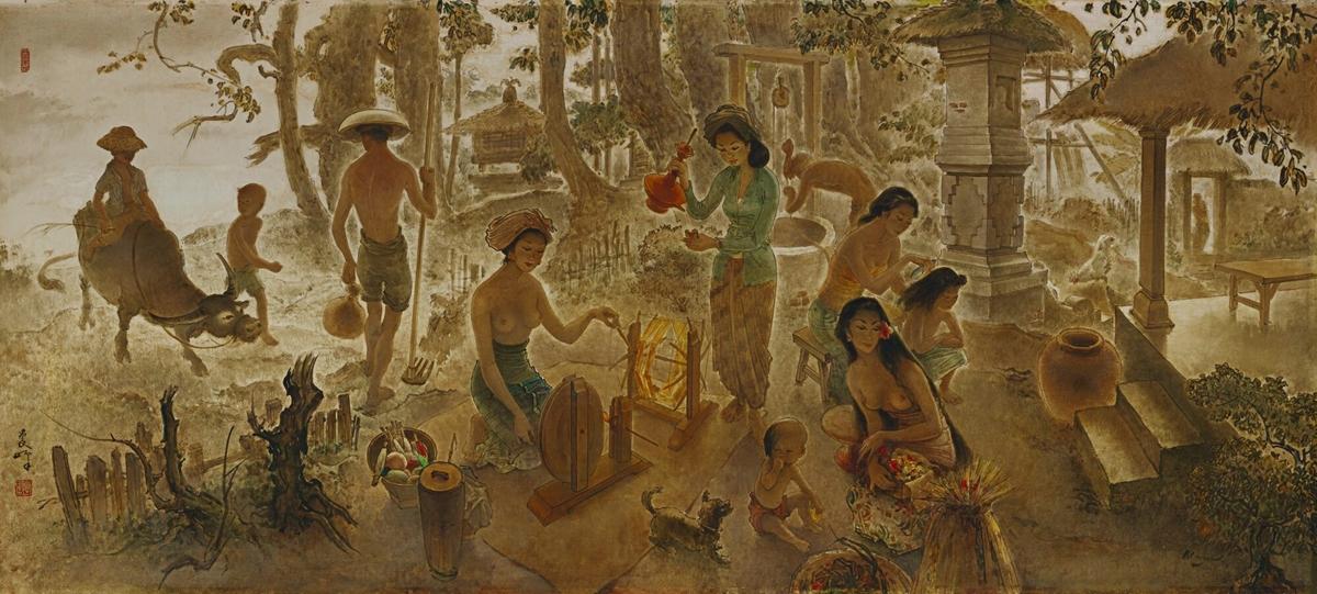 Tác phẩm Bali Life của họa sĩ người Indonesia gốc Hoa Lee Man Fong được Sothebys đấu giá 25,3 triệu HKD (3,2 triệu USD) vào năm 2010 - lập kỷ lục tranh của họa sĩ Đông Nam Á bấy giờ.Lee Man Fong (1913-1988) sinh ra ở Quảng Châu, Trung Quốc, sau đó chuyển đến sống ở Jakarta, Indonesia. Thời trẻ, ông làm việc cho một công ty in Hà Lan. Các tác phẩm của ông được đưa vào các cuộc triển lãm tranh do Hiệp hội Đông Ấn Hà Lan tổ chức tại Batavia ở Jakarta, các sự kiện vốn thường chỉ trưng bày tác phẩm của nghệ sĩ Hà Lan da trắng. Năm 1949, Fong nhận được học bổng Malino do lãnh đạo Đông Ấn Hà Lan Hubertus van Mook giới thiệu sang học hội họa ở Hà Lan trong ba năm, điều này ảnh hưởng sâu sắc đến sự nghiệp và sự phát triển thẩm mỹ của ông. Ngày nay, các tác phẩm của Fong nằm trong bộ sưu tập của Bảo tàng Oei Hong Djien ở Magelang, Indonesia và Phòng trưng bày Quốc gia Singapore. Ảnh: Sotheby.