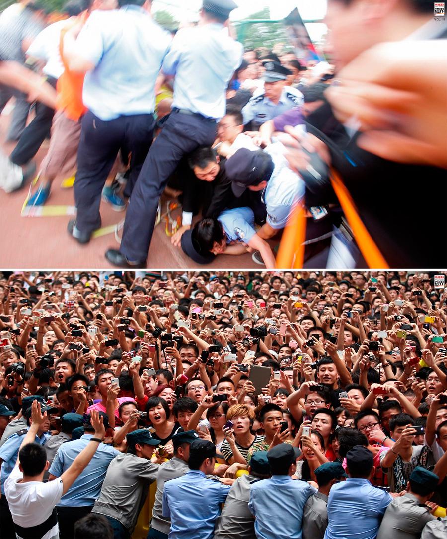 Khán giả chen chúc, giẫm đạp để xem thần tượng tại Trung Quốc. Ảnh: 163.