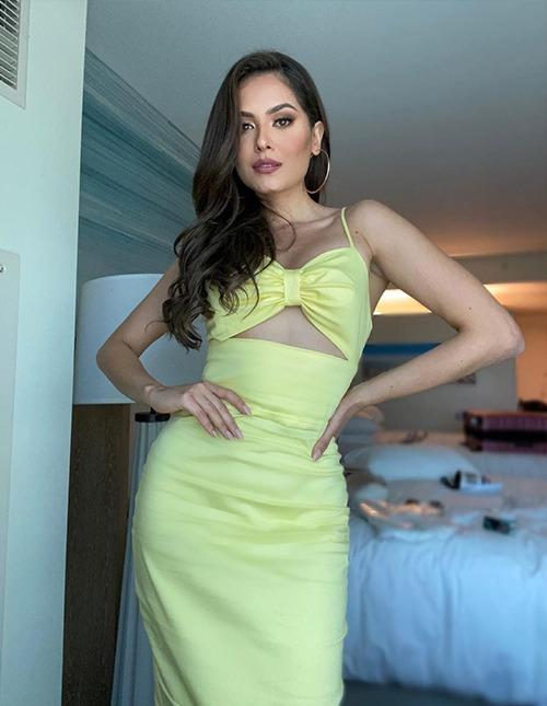 Hoa hậu Mexico Andrea Meza diện đầm màu ấm, gợi không khí của Florida - nơi đang diễn ra cuộc thi. Cô được Missosology đánh giá là ứng viên sáng giá nhất của vương miện năm nay. Ảnh: Andrea Meza Instagram.