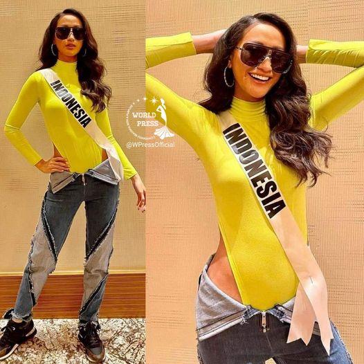 Ayu Maulida kết hợp bodysuit và quần tụt. Ảnh: World Press.