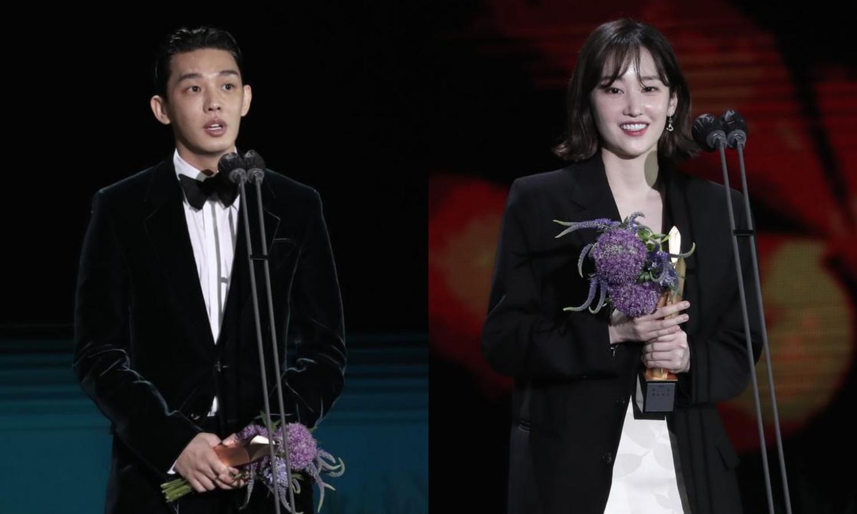 Yoo Ah In và Jeon Jong Seo đoạt Nam, Nữ chính xuất sắc. Ảnh: Ilgan Sports.