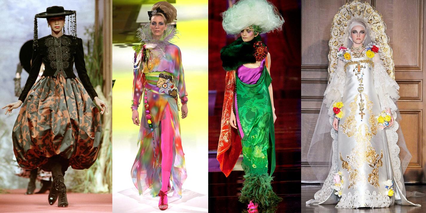 (Từ trái qua) Các thiết kế cầu kỳ của Christian Lacroix cho bộ sưu tập Thu Đông couture 1987, Xuân Hè couture 2004, Thu Đông couture 2005 và Thu Đông couture 2009. Ảnh: Marcio Madeira.