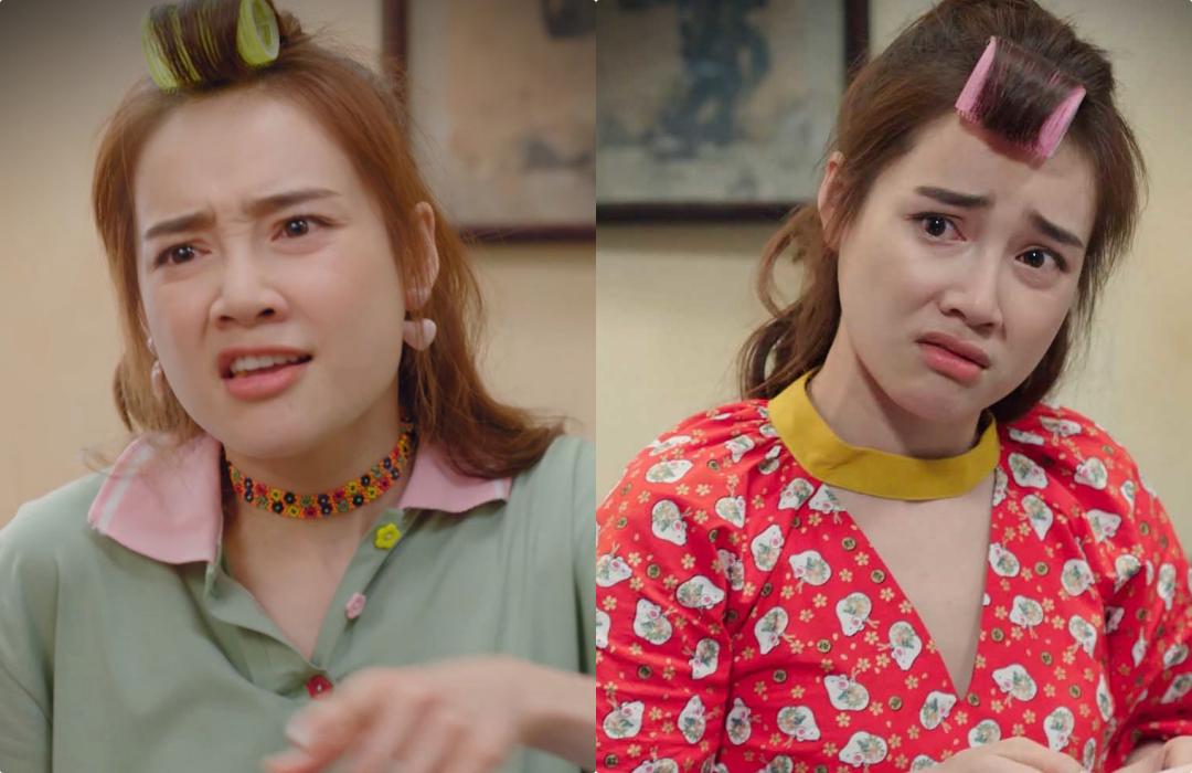 Tại nhà, nhân vật Báu xuất hiện thường xuyên trên phim với mái tóc cuốn lô,