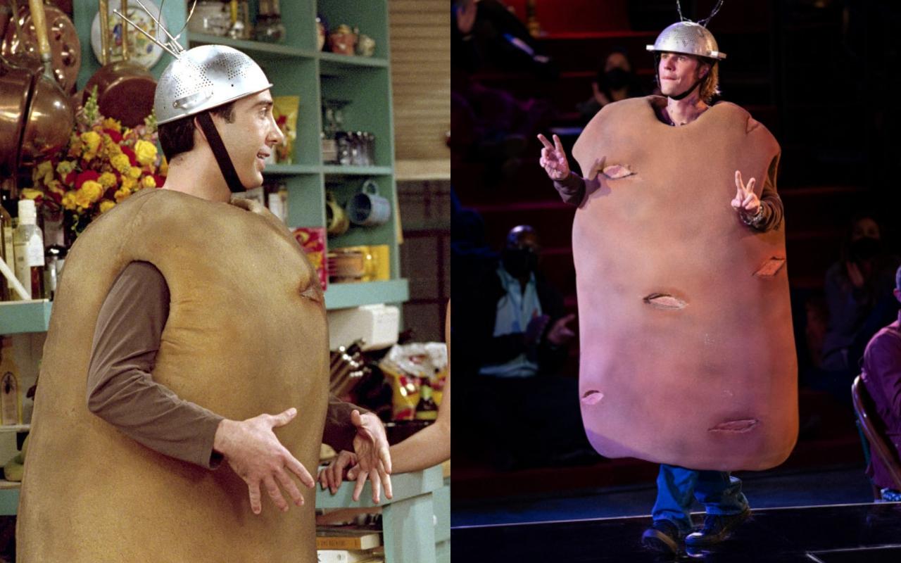 Theo Elle, một trong những trang phục Halloween truyền cảm hứng tới tận này ngay là bộ đồ mô phỏng củ khoai tây của Ross cùng mũ gắn ăng ten. Trong Friends: The Reunion, Justin Bieber (phải) tái hiện bộ cánh này.