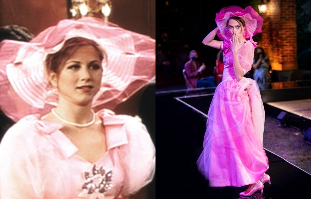 Một trong những bộ cánh gây ấn tượng của Rachel là đầm phù dâu màu hồng kèm mũ diêm dúa trong đám cưới của Barry. Thiét kế được Cara Delevinge (phải) tái hiện trong phim Friends: The Reunion.