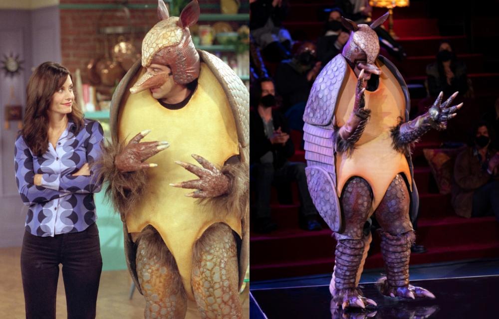 Ross còn gây cười khi quyết định mặc bộ đồ mô phỏng loài thú có mai Armadillo khi cửa hàng đã hết trang phục của ông già Noel dịp lễ Giáng sinh. Bộ cánh được Elle xếp vào nhóm những khoảnh khắc thời trang ấn tượng của Friends. Care Delevingne đã tái hiện nó trong Friends: The Reunion.