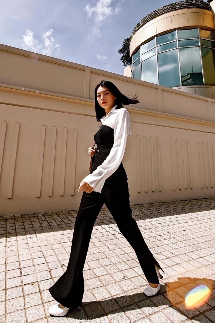 Cách kết hợp trang phục tông đen, trắng