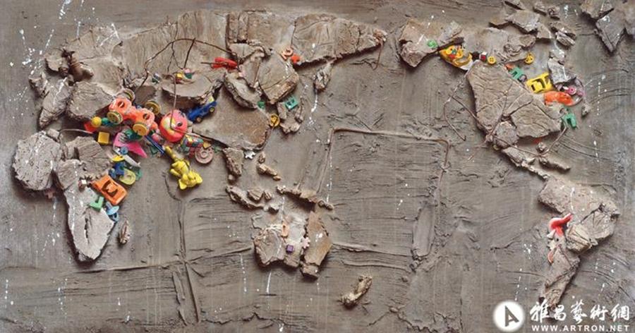 Ngoài vẽ người, Lãnh Quân vẽ đồ vật, cảnh vật, tĩnh vật... Trong phiên đấu giá tháng 6/2019 của China Guardian, bức Phong cảnh thế kỷ số ba, được bán với giá 43,7 triệu nhân dân tệ (6,8 triệu USD). Tác phẩm ra đời năm 1995, lấy cảm hứng từ tòa nhà thương mại ở Seoul, Hàn Quốc bị sập, những món đồ chơi trẻ em đầy màu sắc lẫn lộn giữa đống bê tông cốt thép đổ vỡ. Ảnh: Arton.