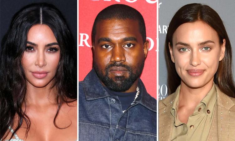 Kim Kardashian, Kanye West và Irina Shayk (lần lượt từ trái qua). Ảnh: Shutterstock.