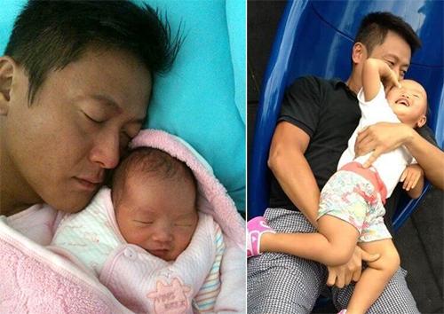 Ngụy Tuấn Kiệt bên con gái lúc nhỏ. Ảnh: Weibo/Weijunjie.