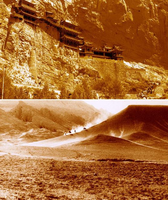 Chùa trên vách núi và Hỏa Diệm Sơn, hai trong số hàng trăm địa điểm đoàn phim đi qua. Ảnh: Tang Jiquan.