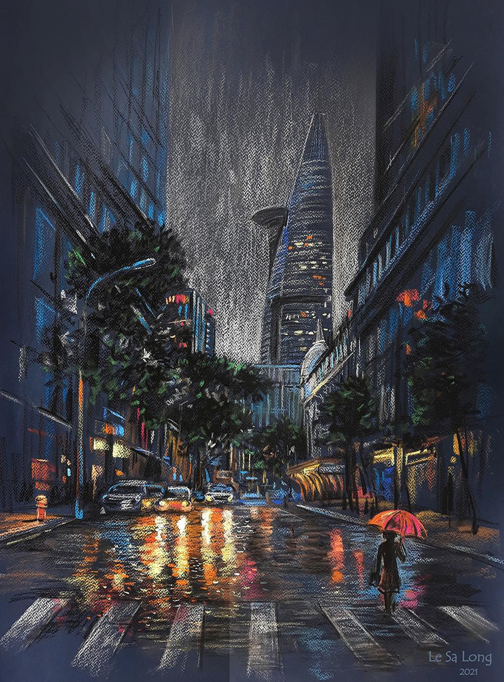 Đường Ngô Đức Kế (quận 1) những ngày đầu giãn cách. Khu phố sầm uất chỉ còn vài ánh đèn vàng le lói dưới cơn mưa đêm.