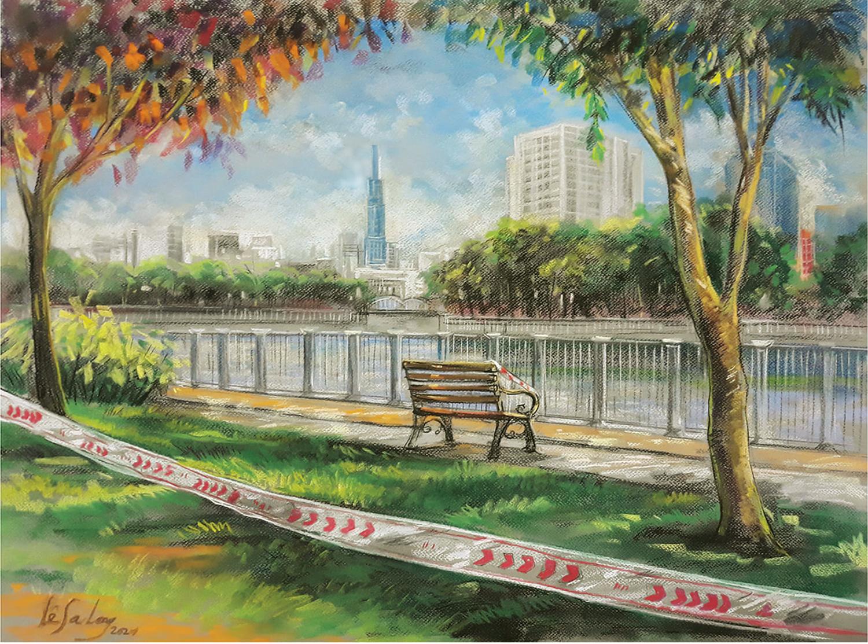 Khung cảnh đường Trường Sa, kênh Nhiêu Lộc (quận Phú Nhuận) một buổi sáng thời giãn cách. Tranh được vẽ bằng phấn tiên, than trên giấy canson.