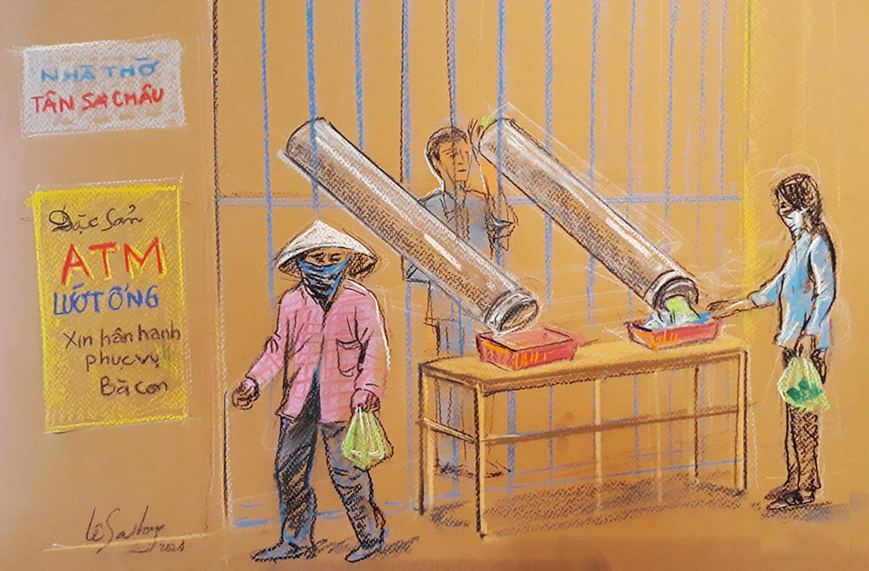 ATM lướt ống - sáng kiến của người dân nhà thờ Tân Sa Châu trên đường Lê Văn Sĩ chuyển nhu yếu phẩm ra ngoài cho người dân nghèo bằng hai chiếc ống nhựa để đảm bảo an toàn mùa dịch.