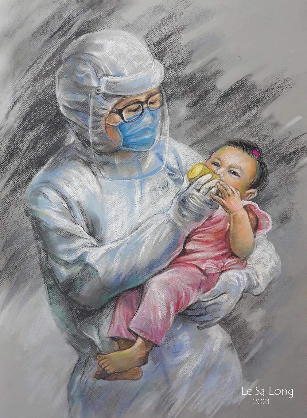Tranh Dòng sữa ngọt ngào là một trong những bức hoàn thành gần đây, thuộc bộ sưu tập Sài Gòn những ngày giãn cách của họa sĩ Lê Sa Long. Qua phản ánh trên báo chí, họa sĩ cảm động trước câu chuyện bác sĩ Phạm Thị Thanh Thúy hàng ngày vắt sữa nuôi bé gái 7 tháng tuổi tại Bệnh viện Điều trị Covid-19 Trưng Vương. Bé cùng bố và anh trai 25 tháng tuổi - cùng mắc Covid-19 - đang được chữa bệnh tại đây, còn mẹ suy hô hấp nặng điều trị ở bệnh viện Phạm Ngọc Thạch. Có con trạc tuổi bé gái, chị Thúy nhận nhiệm vụ vắt sữa nuôi bé. Khoảnh khắc chị cho bé uống sữa trong bộ đồ bảo hộ được đồng nghiệp ghi lại