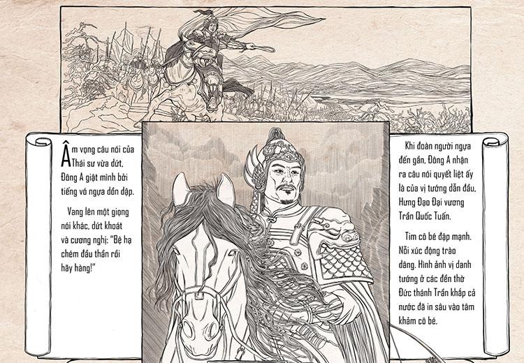 Chân dung Trần Hưng Đạo được vẽ theo lối tranh khắc gỗ. Ảnh: NXB Kim Đồng.
