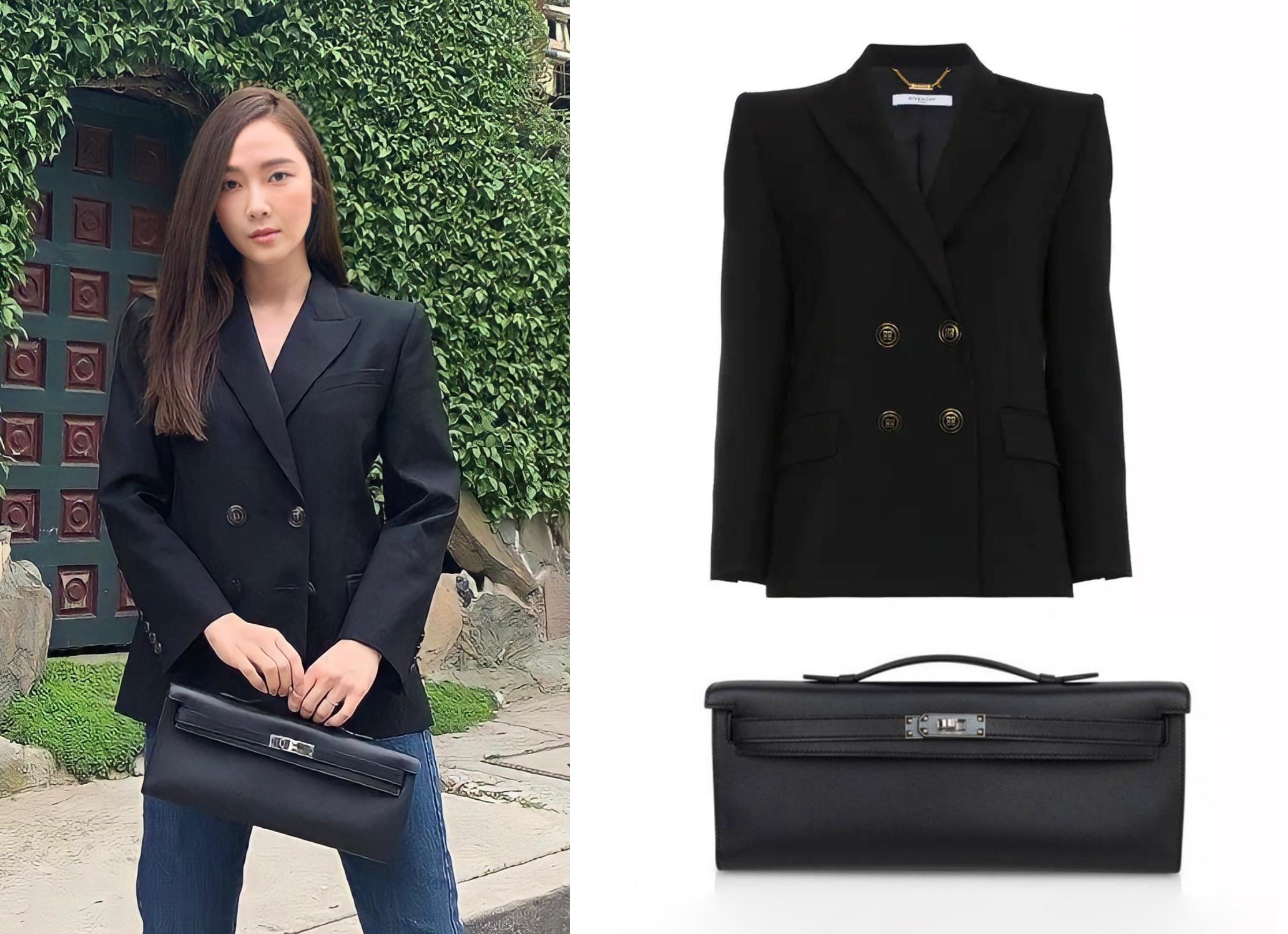 Trong chuyến dạo chơi ở Seoul, Hàn Quốc, Jessi ca phối quần jeans tối giản với jacket hiệu Givenchy, giá 2.935 USD. Cô mang clutch dáng chữ nhật dòng Kelly, hơn 10.995 USD.Hơn 10 năm qua, truyền thông Hàn đánh giá Jessica là một trong những tay chơi hàng hiệu của làng giải, thường diện loạt trang phục, phụ kiện xa xỉ trên sân khấu lẫn đời thường. Cô là tín đồ của túi Hermes, sưu tầm gần 40 chiếc, đa kiểu dáng, size và màu sắc.