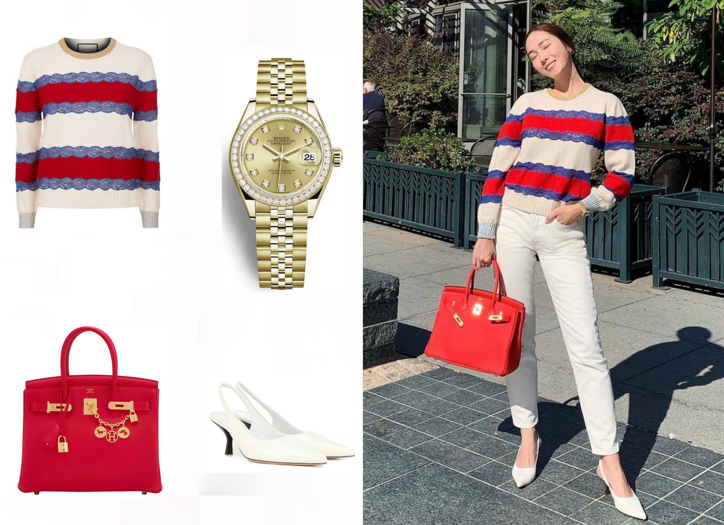 Jessica khoe phong cách dạo phố với quần jeans trắng, áo len Gucci, đồng hồ Rolex, giày mũi nhọn The Row. Dòng túi Birkin gam đỏ size 30 cm có giá 21.450 USD.