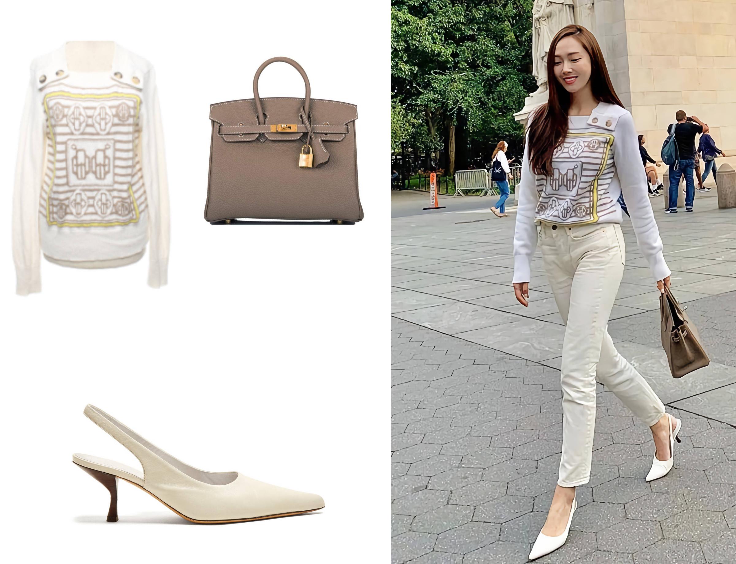 Trong lần dạo chơi New York, Mỹ, cô diện quần jeans trắng với áo tay dài chất liệu cashmere, đi giày mũi nhọn The Row. Túi Birkin size 25 cm màu xám có giá 20.500 USD.