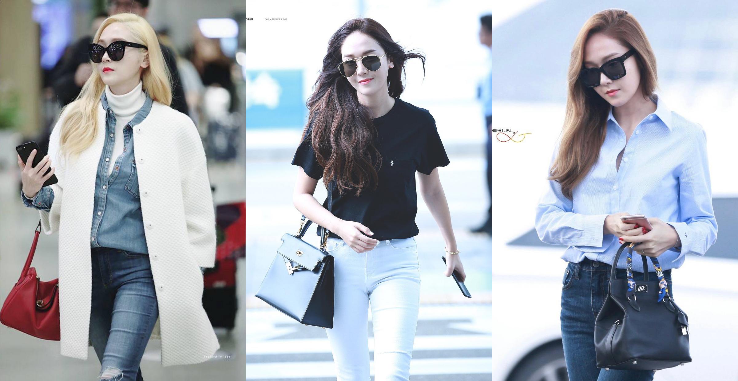 Người đẹp ra sân bay với trang phục năng động, thanh lịch, nhấn vào loạt túi Hermes.Jessica Jung sinh năm 1989, ra mắt cùng nhóm SNSD năm 2007. Sau khi rời nhóm, cô tập trung kinh doanh thời trang và phát triển sự nghiệp solo.