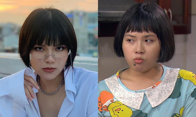 Ánh Tuyết (trái) trước  khi tăng 8kg để đóng vai Diệp trong  Hương vị tình thân. Ảnh: Facebook Nguyễn Ánh Tuyết.