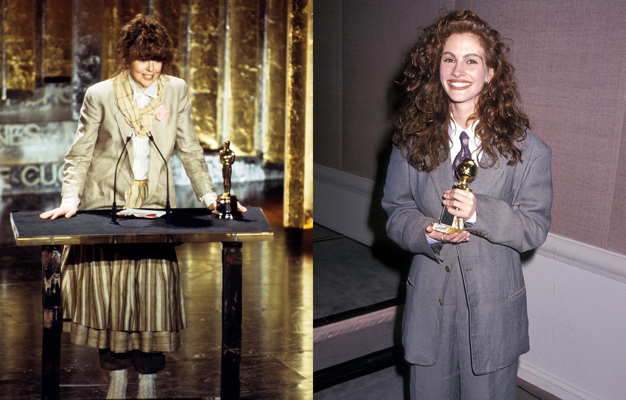 Diễn viên Diane Keaton (trái) nhận giải Nữ diễn viên xuất sắc tại Oscar 1978. Cô diện áo vest màu be bên ngoài váy xếp ly của Armani, tạo diện mạo cá tính, phá cách so với quan niệm thời trang nữ đương thời. Tại Quả cầu vàng 1990, diễn viên Julia Roberts mặc suit Armani để nhận giải Nữ diễn viên phụ xuất sắc. Mái tóc xoăn cùng bộ đồ xám trở thành một trong những khoảnh khắc thời trang kinh điển mọi thời đại. Ảnh: BC Photo Archives, Ron Galella.