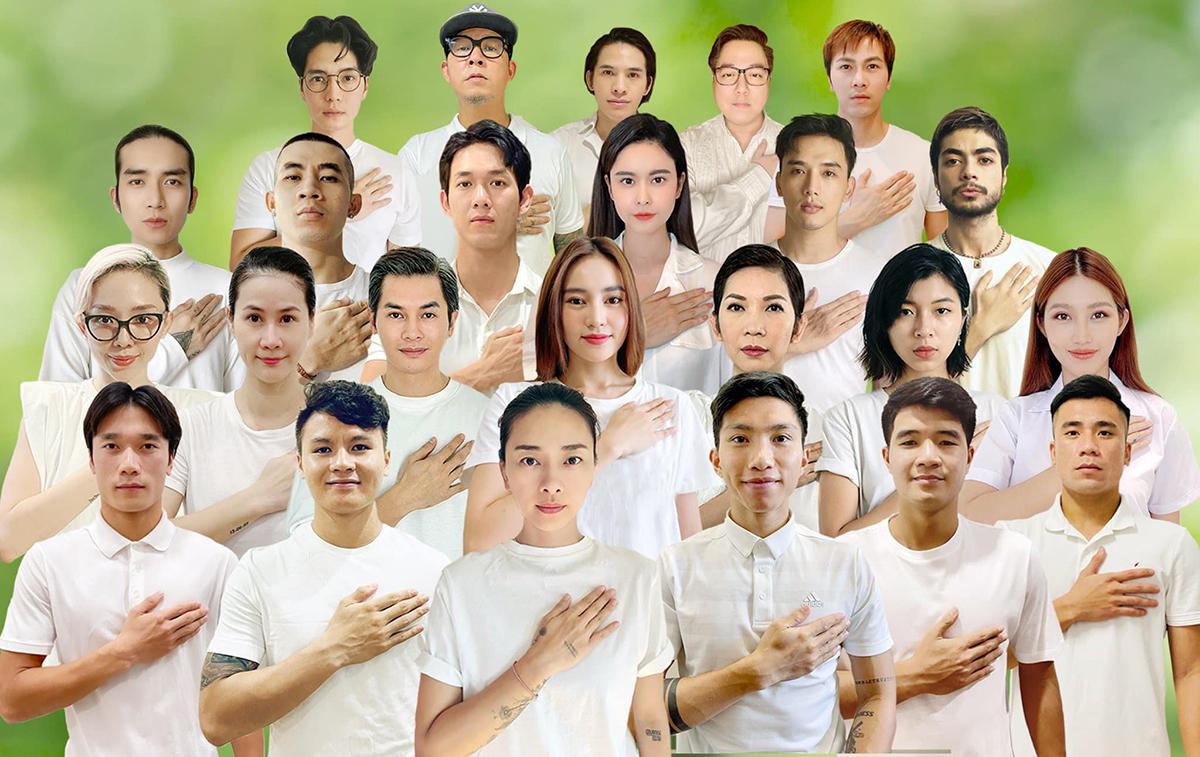 Các nghệ sĩ và cầu thủ Việt Nam lập dự án Vì nhịp thở Việt Nam, ủng hộ tuyến đầu chống dịch. Ảnh: Facebook Nguyễn Đắc Văn.