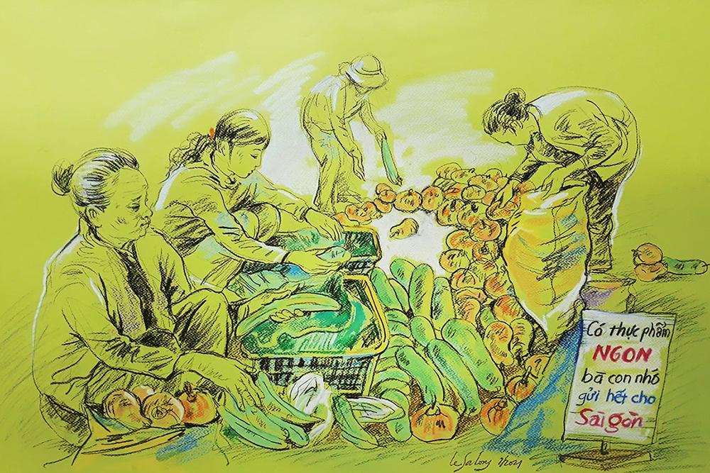 Họa sĩ xúc động khi đọc câu chuyện bà con miền Trung đóng gói rau củ gửi tặng người Sài Gòn. Khi nghe thông tin TP HCM giãn cách theo Chỉ thị 16, người dân nơi rốn lũ Hải Lăng (Quảng Trị) bàn nhau nhà ai có gì góp nấy, từ rau củ, muối mắm đến tôm cá đánh bắt được, tìm cách bảo quản để được lâu dài rồi gửi vào theo các chuyến xe thiện nguyện.