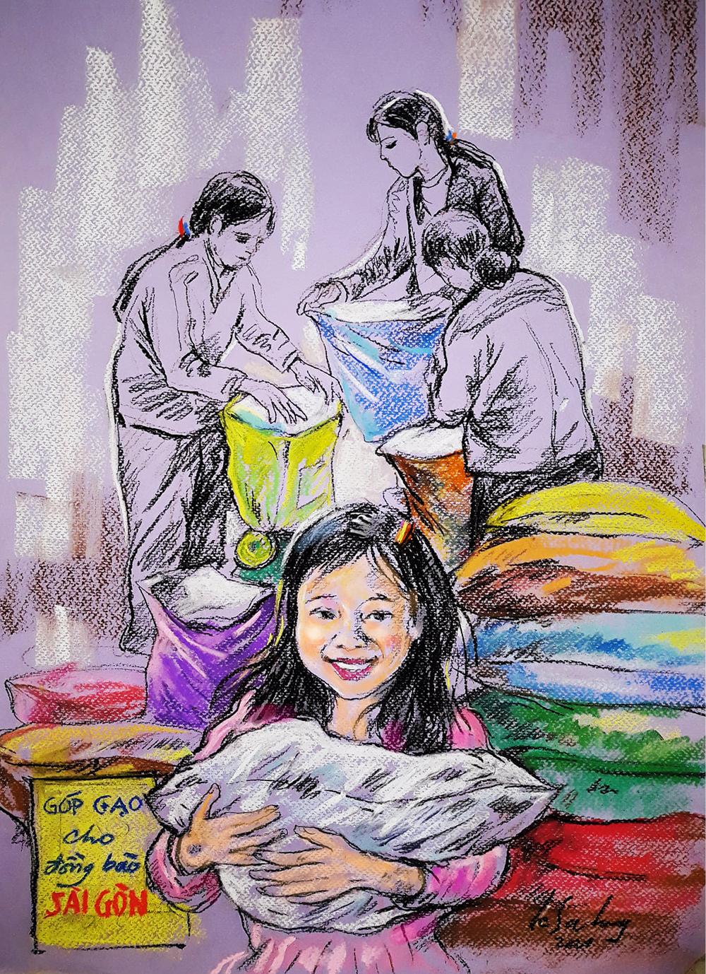 Anh vẽ cảnh người dân miền Trung đong gạo gửi về Sài Gòn. Cô bé trong tranh cười rạng rỡ, nói: Các má, các ngoại ơi, cho con góp gạo tặng các bạn với.