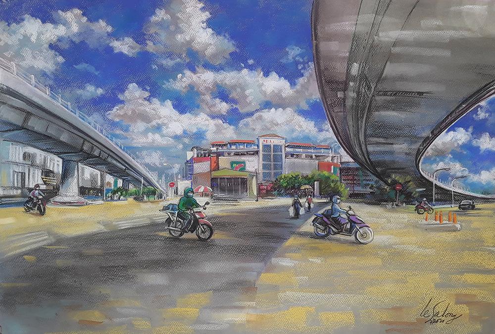 Khu cầu vượt Quang Trung (quận 12) hôm 9/7 - ngày đầu. TP HCM giãn cách theo Chỉ thị 16 - chỉ thấp thoáng vài bóng xe cộ lưu thông trên đường phố.