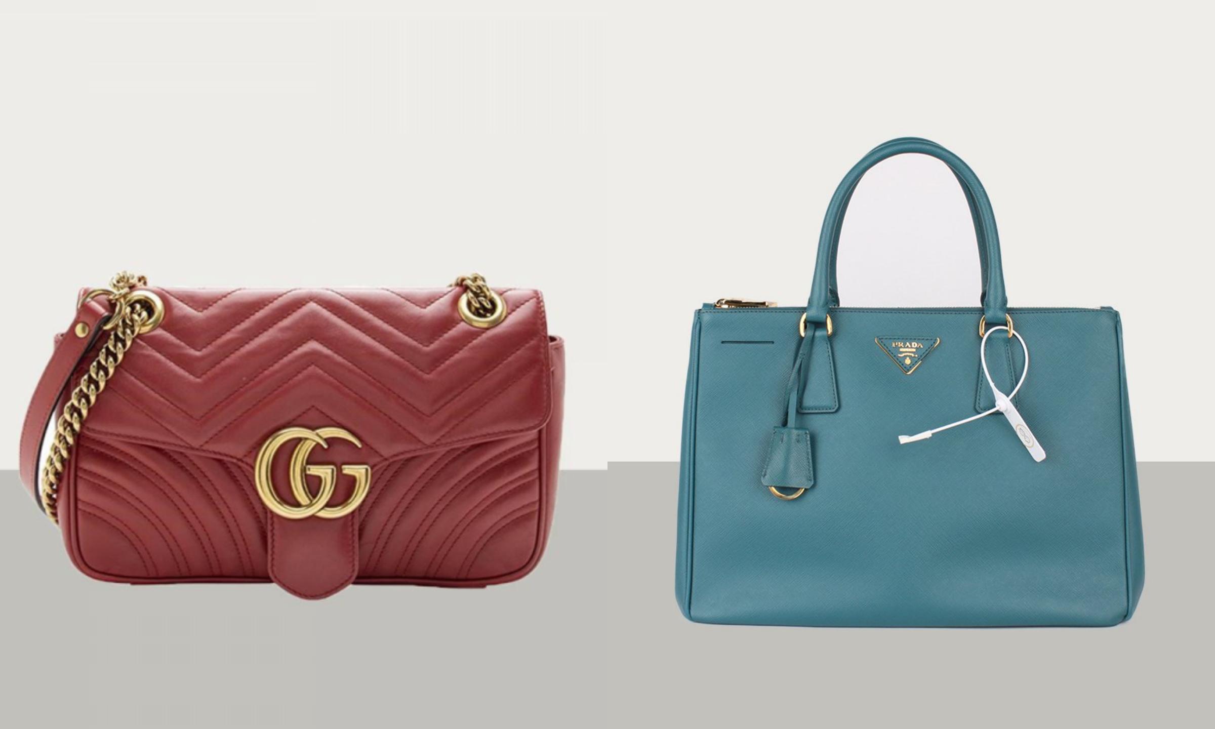 Dòng túi Marmont của Gucci (trái) và chiếc Galleria của Prada (phải).