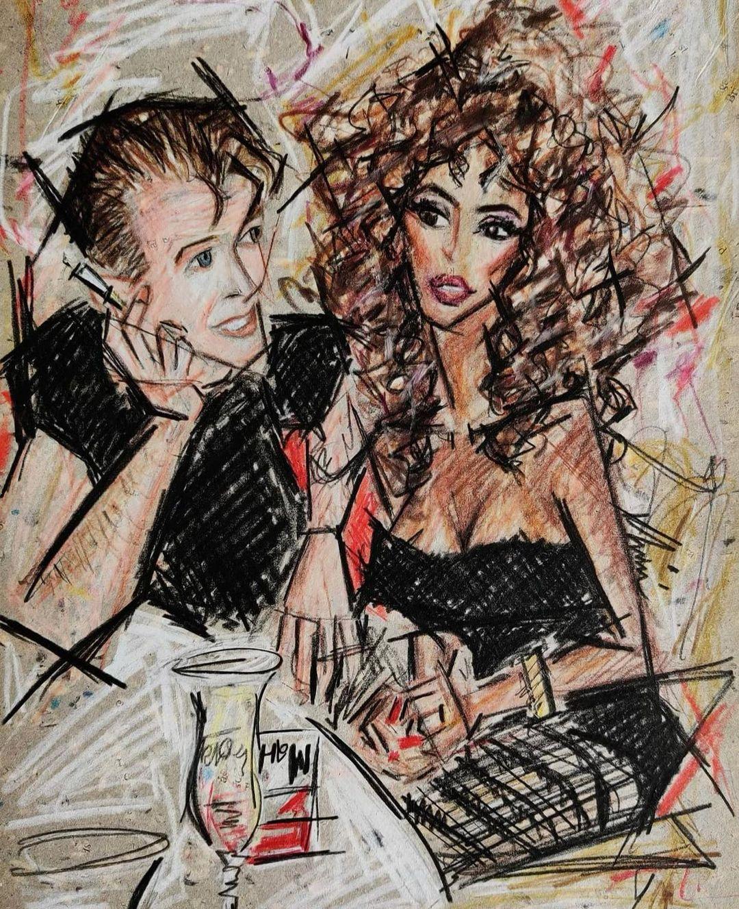 Bức tranh vẽ Iman và David Bowie thời trẻ, do họa sĩ Shirin Godhrawala thực hiện. Ảnh: Instagram Iman.