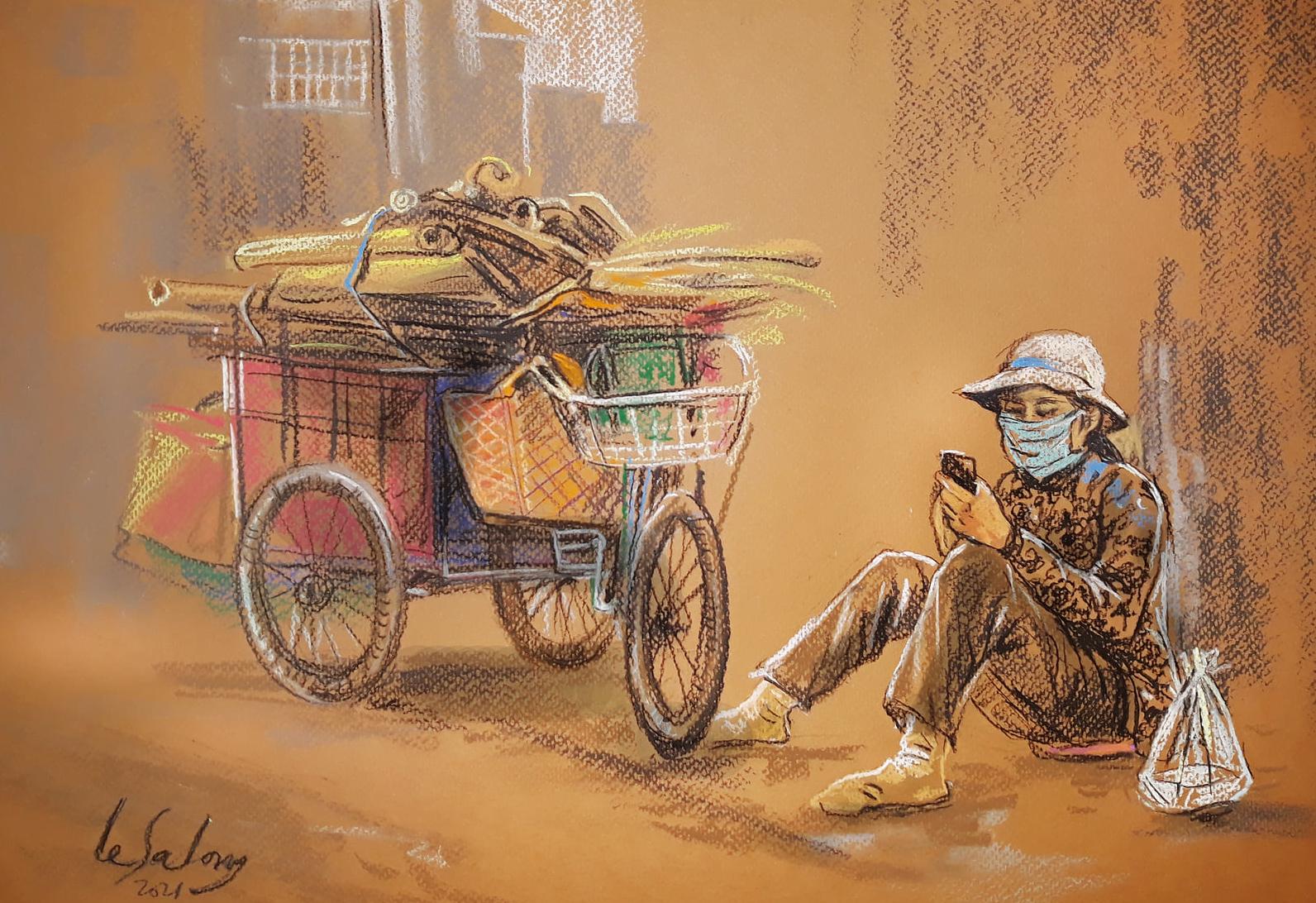 Tác phẩm Phút nghỉ trưa của người mua ve chai, nằm trong bộ tranh Sài Gòn trong những ngày giãn cách, của họa sĩ Lê Sa Long.