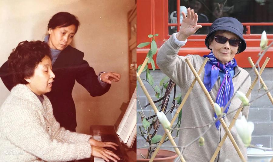 Vương Kiện (áo đen) khi làm việc cùng Cốc Kiến Phân và khi ngoài 90 tuổi. Ảnh: Bjnews.