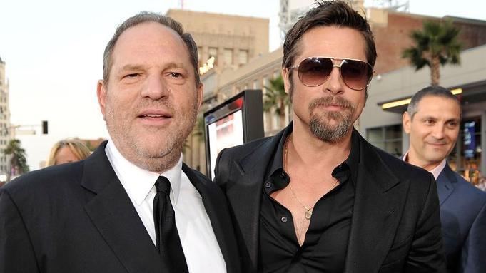 Harvey Weinstein (trái) từng được Brad Pitt đích thân mời sản xuất phim Killing Them Softly (2012). Ảnh: Harpersbazaar