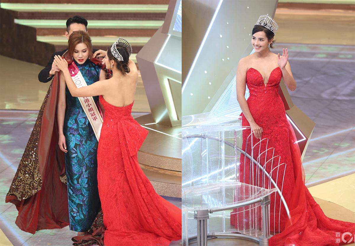Tống Uyển Dĩnh vượt qua 11 thí sinh để đoạt giải cao nhất, cô được người tiền nhiệm Tạ Gia Di trao vương miện.